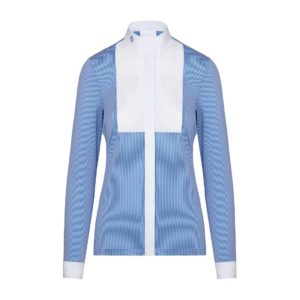 Tävlingstopp Cavalleria Toscana Embossed Stripe LS Shirt with BIB